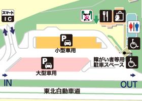 東北自動車道・福島松川PA・下りの場内地図画像