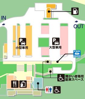 東北自動車道・前沢SA・下りの場内地図画像