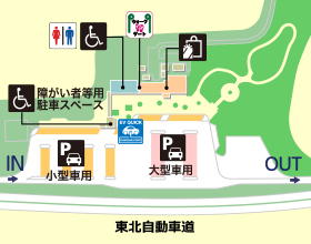 東北自動車道・津軽SA・下りの場内地図画像