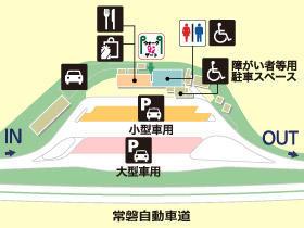 常磐自動車道・美野里PA・下りの場内地図画像