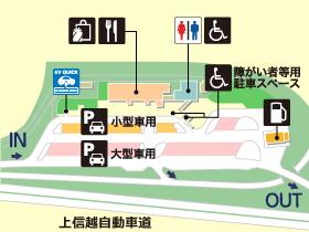 上信越自動車道・東部湯の丸SA・下りの場内地図画像